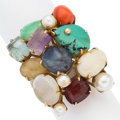 Estate Jewelry:Rings, Multi-Stone, Cultured Pearl, Gold Ring . ...