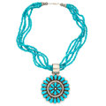 Estate Jewelry:Necklaces, Navajo Turquoise, Sterling Silver Pendant-Necklace, Paul Livingston . ...