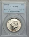 Kennedy Half Dollars, 1970-D 50C MS66 PCGS. PCGS Population: (542/14). NGC Census: (143/7). Mintage 2,150,000. ...