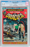 Bronze Age (1970-1979):Horror, Tomb of Dracula #1 (Marvel, 1972) CGC VG/FN 5.0 White pages....