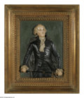 Antiques:Decorative Americana, Most Unusual Large High-Relief Plaque of George Washington. Ofuncertain composition material (looks like it might be wax, b...