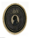 Political:Memorial (1800-present), Historic Original Reverse Silhouette Memorial Painting on Glass of George Washington. Early 19th century reverse painting on...
