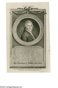 "Political:Small Paper (pre-1896), Fine 1783-Dated Engraving of John Adams. Blank-backed, earlyengraved portrait, published in London by J. Fielding ""From an ..."