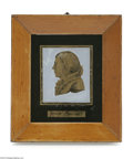 """Political:3D & Other Display (pre-1896), """"Period"""" C. 1810-15 Reverse on Glass Portrait of James Madison. We have seen portraits from the same maker for the first fou..."""