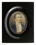 """Political:3D & Other Display (pre-1896), Fine Hand Painted, Signed Portrait of James Monroe on Ivory. A veryelegant and well-rendered image signed """"Creville"""" in the..."""