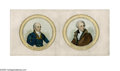"""Political:Small Paper (pre-1896), Hand-Colored Original Papers for """"Pewter Rim"""" Badges for the 1828Candidates, John Quincy Adams and Andrew Jackson. While th..."""