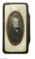 Political:3D & Other Display (pre-1896), Rare John Quincy Adams Snuff Box Exquisitely crafted of horn and ivory, with a presidential-period engraving of Adams under ...