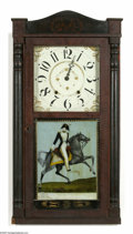 Political:3D & Other Display (pre-1896), Fabulous C. 1830 Mantle Clock With Reverse on Glass Portrait of Andrew Jackson on Horseback. This clock is from the U. I. ...