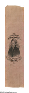 Political:Ribbons & Badges, Highly Important Andrew Jackson Silk Ribbon Jackson was the first candidate for whom true manufactured campaign novelties we...