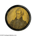 Political:3D & Other Display (pre-1896), Superb Large C. 1829 Andrew Jackson Papier-Mache Snuff Box. Maturecivilian portrait depicts Jackson as he might have looked...