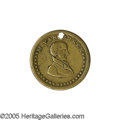 """Political:Tokens & Medals, Van Buren 1836 Token This 25 mm brass token is listed as Sullivan-DeWitt MVB-1836-4. The reverse exclaims """"Democracy and O..."""