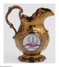 Political:3D & Other Display (pre-1896), Superb William Henry Harrison Copper Luster Pitcher, A Campaign Issue From 1840. These copper luster pieces are among the mo...
