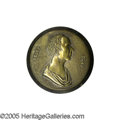 "Political:Ferrotypes / Photo Badges (pre-1896), Large Henry Clay Portrait Clothing Button 30 mm. This brass shell clothing button has a finely executed bust of ""Henry Cla..."