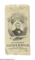 Political:Ribbons & Badges, Very Scarce 1844 James K. Polk Silk Campaign Ribbon. All Polk ribbons are tough, and many of those that have survived have s...