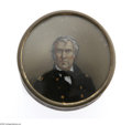 Political:3D & Other Display (pre-1896), Zachary Taylor Snuff/Patch Box. Rare 1848 campaign item featuring areverse portrait of Zachary Taylor under glass. It mea...