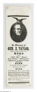 Political:Memorial (1800-present), Highly Distinctive and Rare Unlisted Zachary Taylor Memorial Ribbon. Interestingly, more ribbon designs were produced to mou...