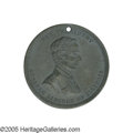 """Political:Tokens & Medals, Large 1860 Lincoln Campaign Medal 38 mm. This medal is listed as Sullivan-DeWitt AL-1860-19, and designated the """"Broad Shi..."""