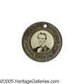 Political:Ferrotypes / Photo Badges (pre-1896), Unbelievably Pristine 1860-Dated Lincoln & Hamlin Ferrotype,With Unusual Silvering in the Brass Frame. Slightly smaller por...