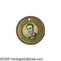 """Political:Ferrotypes / Photo Badges (pre-1896), Very Choice 1860 Lincoln & Hamlin Ferrotype. A wonderful """"type"""" example from the Joe Brown Collection. The obverse is ab..."""