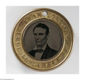 Political:Ferrotypes / Photo Badges (pre-1896), Spectacular, Absolutely Mint Larger-Size 1860 Lincoln & HamlinFerrotype. At 30mm, this variety is substantially larger (and...