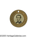 "Political:Ferrotypes / Photo Badges (pre-1896), Choice 1860 Lincoln & Hamlin Ferrotype. As a ""type"" example,this variety, with the famed ""Cooper Union"" Lincoln portrait an..."