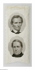Political:Ribbons & Badges, Magnificent 1860 Lincoln & Hamlin Jugate Ribbon With Portraits Taken From Mathew Brady Photos. Virtually pristine example of...