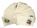 Miscellaneous:Ephemera, Colorful Magee Seals of the States Covers Early hand-tinted sealsof the states by Magee. This group contains 32 envelopes a...