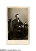 """Photography:CDVs, Brady """"Ink Well"""" CDV of President-Elect Lincoln taken at Lincoln's first sitting in Washington on February 24, 1861 by Mathe..."""