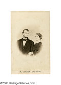 """Photography:CDVs, Abraham and Mary Todd Lincoln Composite CDV titled """"A. Lincoln and Lady."""" Lincoln and his wife never posed for a picture tog..."""