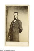 """Photography:CDVs, Rare Abraham Lincoln Carte de Visite by Anthony, From a Mathew B. Brady Negative. Known as the """"solitary pine"""" pose because ..."""