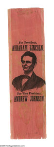 Political:Ribbons & Badges, Crisp, Nearly Pristine 1864 Lincoln & Johnson Silk Campaign Ribbon. This gem from the Joe Brown Collection has terrific ...