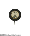 Political:Ferrotypes / Photo Badges (pre-1896), Rare Velvet-Border 1863 Lincoln Ferrotype Pin. A beauty from theJoe Brown Collection, virtually mint but for a small ch...