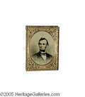 Political:Ferrotypes / Photo Badges (pre-1896), Brilliant Lincoln Ferrotype Badge from 1864 20 mm x 26 mm. This gembadge has a bold ferrotype portrait of Lincoln. Conditi...