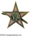 Political:Ferrotypes / Photo Badges (pre-1896), Rare 1864 Lincoln Ferrotype Set Into Five-Pointed Star. Thefive-pointed star is one of the most sought-after frames for fer...