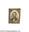 Political:Ferrotypes / Photo Badges (pre-1896), Choice Lincoln Albumen Badge from 1864 20 mm x 26 mm. This gembadge has a bold albumen portrait of Lincoln, taken by Berg...