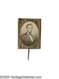 Political:Ferrotypes / Photo Badges (pre-1896), Fine 1864 Lincoln Cardboard Photo Pin. A less common Lincoln poseon this type of item, in choice condition with original pi...