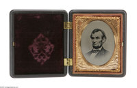Superb Mint Abraham Lincoln Tintype in Civil War Era Thermoplastic Case. Tintype and case are in spectacular near mint t...