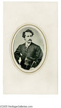 Photography:Tintypes, Rare John Wilkes Booth Tintype, set into a carte de visitesize cardboard holder, in stunning, pristine condition, and c...