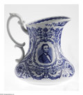 Political:3D & Other Display (pre-1896), Abraham Lincoln Image on Pitcher This blue portrait of AbrahamLincoln appears on a white pitcher made in Cauldon England....