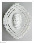 Political:3D & Other Display (pre-1896), Vintage Abraham Lincoln Milk Glass Candy Dish with the classic bas-relief portrait and criss-crossed split-rail pattern. Dat...