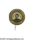"""Political:Ferrotypes / Photo Badges (pre-1896), McClellan Single Picture Ferro Pinback 25mm. This handsome 1864campaign badge shows the former military commander, """"G. B...."""