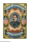 Political:Advertising, Gorgeous 19th Century Multi-Color Gen. George McClellan TobaccoAdvertising Card. On heavy stock, produced by the rather obs...
