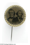 Political:Ferrotypes / Photo Badges (pre-1896), Key 1860 Douglas & Johnson Jugate Ferrotype. Along with theBreckinridge & Lane, the toughest of the four matching 1860juga...
