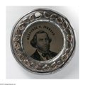 Political:Ferrotypes / Photo Badges (pre-1896), Douglas/Johnson Doughnut Style Ferro 25mm. Sullivan-DeWittSD-1860-44 in silvered copper shell. This rather scarce back-to...