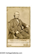 "Photography:CDVs, Brady CDV of President Andrew Johnson titled ""President Johnson"" on a gold-ruled card. This is the official portrait by Math..."