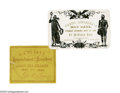 "Political:Small Paper (pre-1896), 1868 President Andrew Johnson Impeachment Ticket printed in brownink on a yellow 3.5"" x 3"" card by Philp & Solomons of Wash...(Total: 2 )"