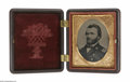 Photography:Tintypes, Magnificent Ulysses S. Grant Tintype in Civil War Era ThermoplasticCase. Probably a Civil War image, although much smaller ...