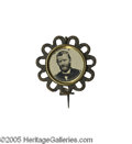 "Political:Ferrotypes / Photo Badges (pre-1896), Loopy Grant Ferrotype Badge 23 mm. This badge has a crisp and boldportrait of ""Grant"" surrounded by a looped frame. It is..."