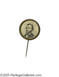 "Political:Ferrotypes / Photo Badges (pre-1896), Crisp and Bold Grant Ferrotype Stickpin 18mm. This stickpin has abright ferrotype portrait inscribed ""Gen. U. S. Grant"" a..."