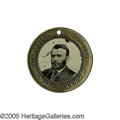 "Political:Ferrotypes / Photo Badges (pre-1896), Large 1868 Grant & Colfax Ferrotype. Large size makes thisvariety a collector favorite, especially as it can be ""mated""wit..."